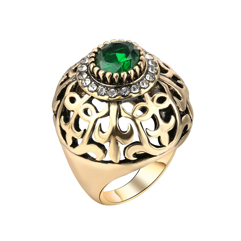 Utimtree Retro Hollow Out Red Green Crystal Vintage Rings For Woman Antique Gold Color Fashion Ethnic Party Ring Accessory Gift