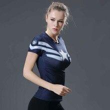 3D Printed T-shirts Women Captain America Compression Shirt