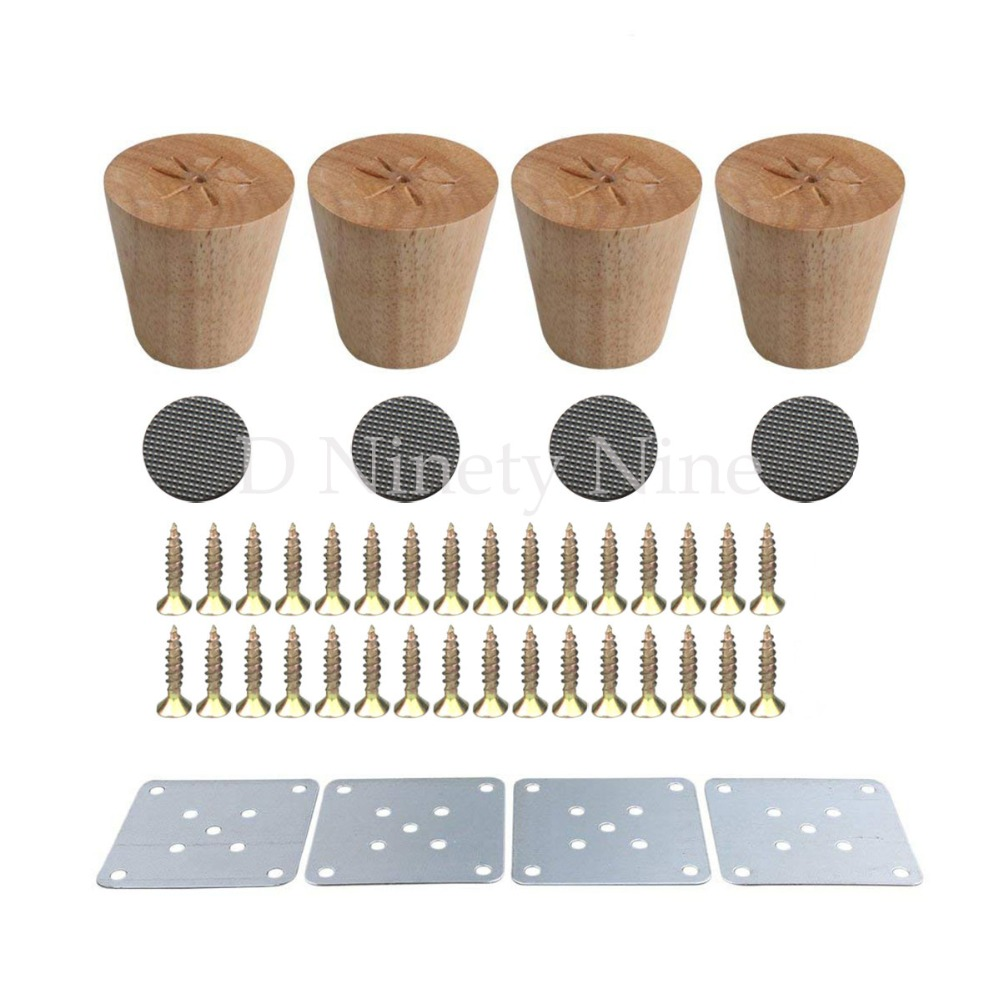 NEW Natural Wood Reliable 60x58x38mm Wood Furniture Leg Cone Shaped Wooden Feet For Cabinets Soft Table Set Of 4