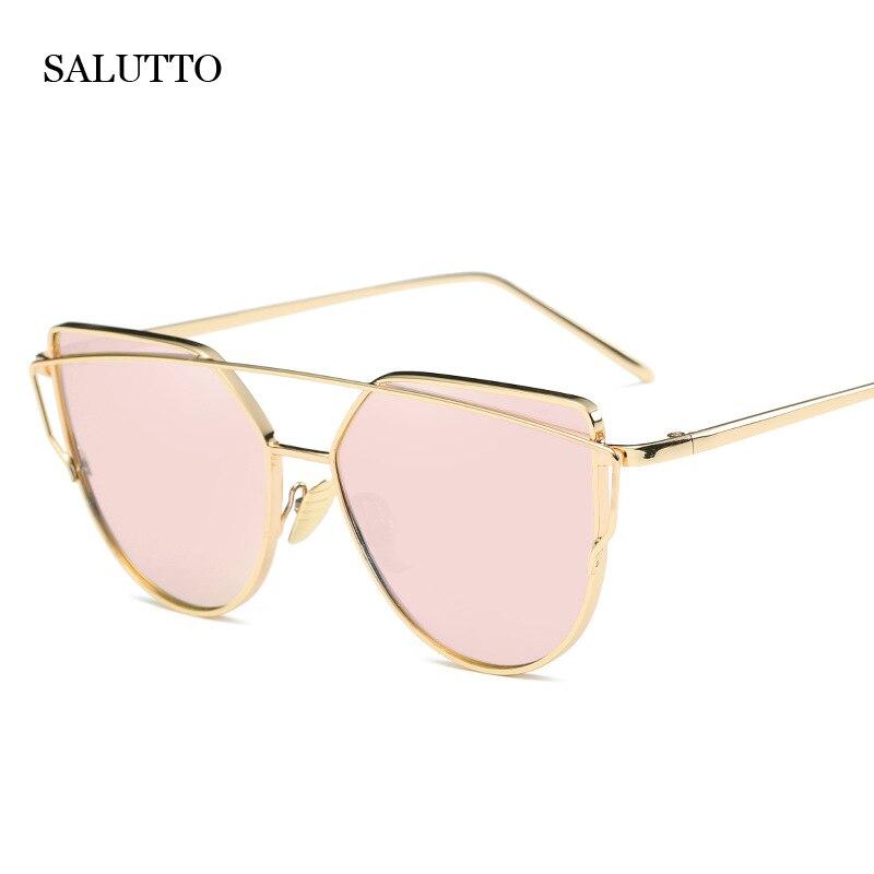 Venta caliente Espejo Lente Plana Mujeres Del Ojo de Gato gafas de Sol Clásico Diseñador de la Marca de Doble Vigas Marco de Oro Rosa Gafas de Sol para Las Mujeres