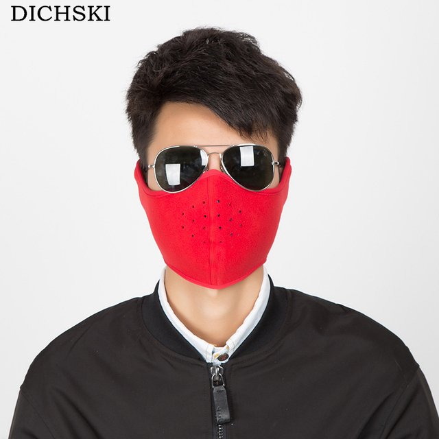 DICHSKI 2018 Autumn and Winter Cycling Face Mask Warm Mask Men and Women  Thick Breathable Fleece Ski Protection Half Face Mask 0afcc5851