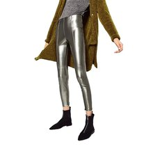 Slim Leather Women Pants Capris Leggings Winter Sexy High Waist Pants Trousers Black&Silver Pencil Pants Female Bottom
