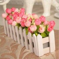 30 cm Bruiloft Decoratieve Simulatie Kunstbloemen Kleine Potplant Fake Rose Set Met Wit Hek