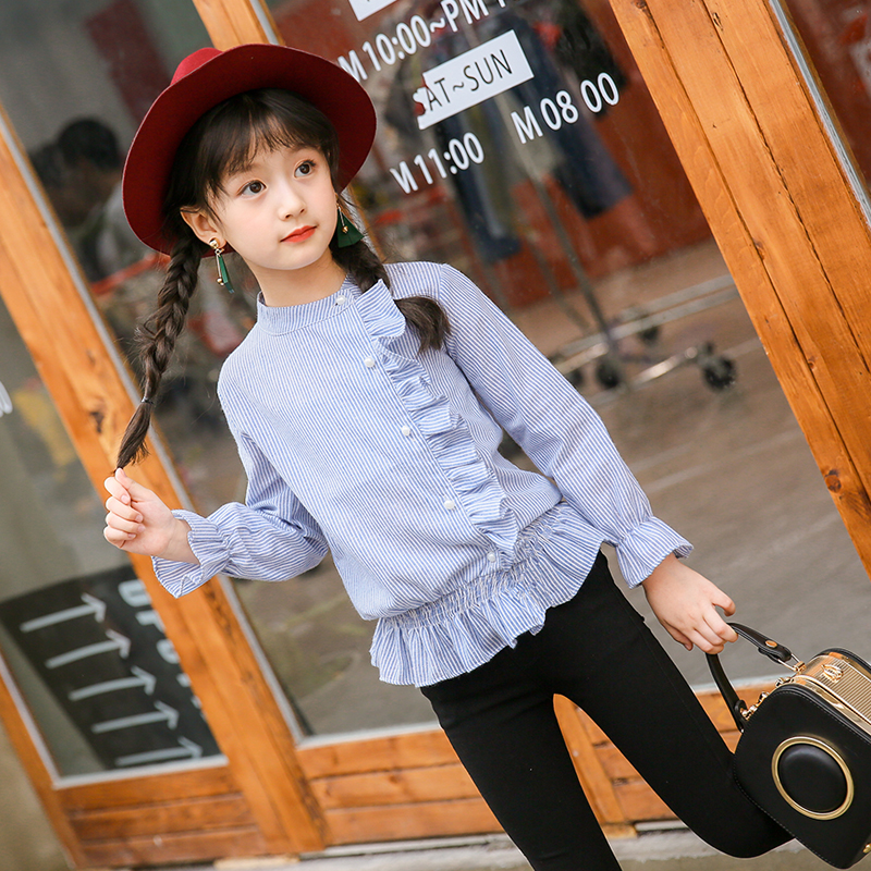 2018 spring and autumn hot fashion classic children long striped shirt girl checkered letters shirt Full Length Wear for Girls classic plaid pattern shirt collar long sleeves slimming colorful shirt for men