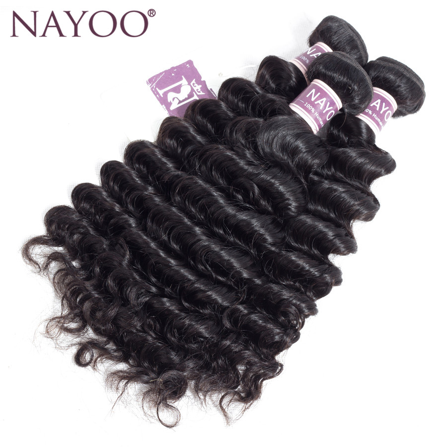 NAYOO Hair Deep Wave 8-26inch 3 pc/lot Non-Remy Peruvian Hair Weave Bundles 100% Human Hair Extensions No Shedding