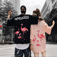 New Fashion Summer Flamingos Floral Lovers Short sleeved T shirts Men Women Loose Oversize Cotton Round Neck Hip Hop Tees Tops