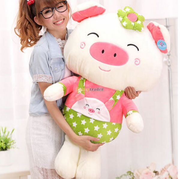 Fancytrader 39'' / 100cm Lovely Giant Plush Stuffed Braces Dressing Pig Toy, Best Gift for Kids Girls, Free Shipping FT50078 fancytrader 2015 new 31 80cm giant stuffed plush lavender purple hippo toy nice gift for kids free shipping ft50367