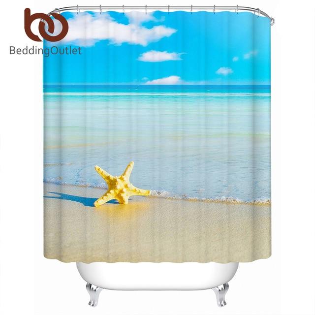 BeddingOutlet Ocean Starfish Shower Curtain Beach Print Waterproof ...