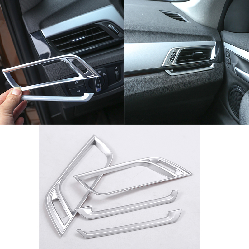 4Pcs Matte ABS Chrome Side Air Conditioning Air Outlet Decorative Frame Trim For BMW X1 F48 2016-2019 Car Accessories