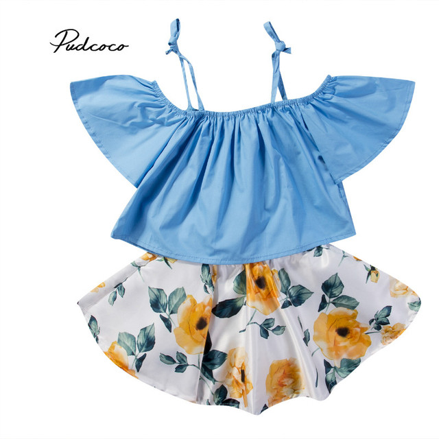9e5e547fbfb Pudcoco 2018 Summer Floral Sister Skirt Sets New Toddler Kids Baby Girl Off  Shoulder Tops Floral Mini Skirt Dress Outfits 1-6T