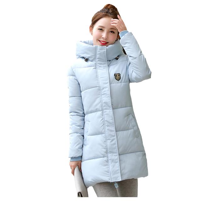 Tengo Novos das Mulheres Morno do Inverno Longo Espessamento Com Capuz de Algodão Acolchoado Outwear Casaco Magro Ocasional