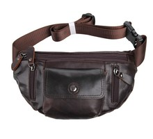 New Men Bag Vintage genuine leather men waist bag cowhide real leather men travel belt wallets bag coffee color #VP-J7209