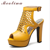 Meotina Women Sandals High Heels Platform Shoes Slingbacks Open Toe Gladiator Sandals Hollow Spike Heels Spring