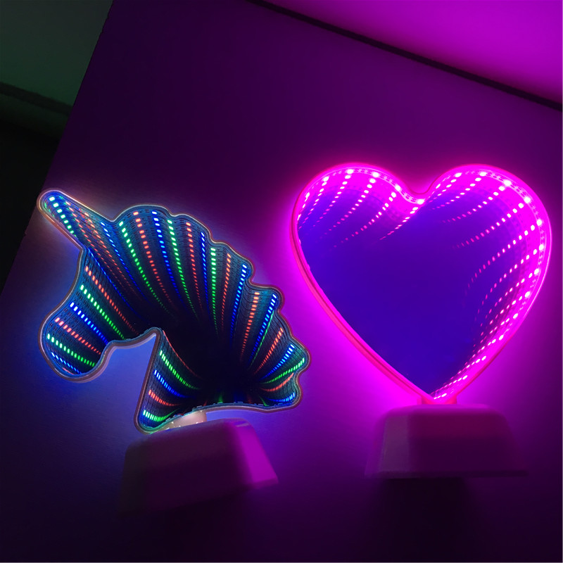 Led Lamps Novelty Led Tunnel Night Light Heart Shape Mirror Home Party Decoration Gift New