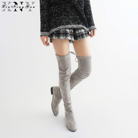 Women Stretch Boots Faux Suede Thigh High Boots Sexy Fashion Over The Knee Boots High Heels Woman Shoes Ladies Winter Boots