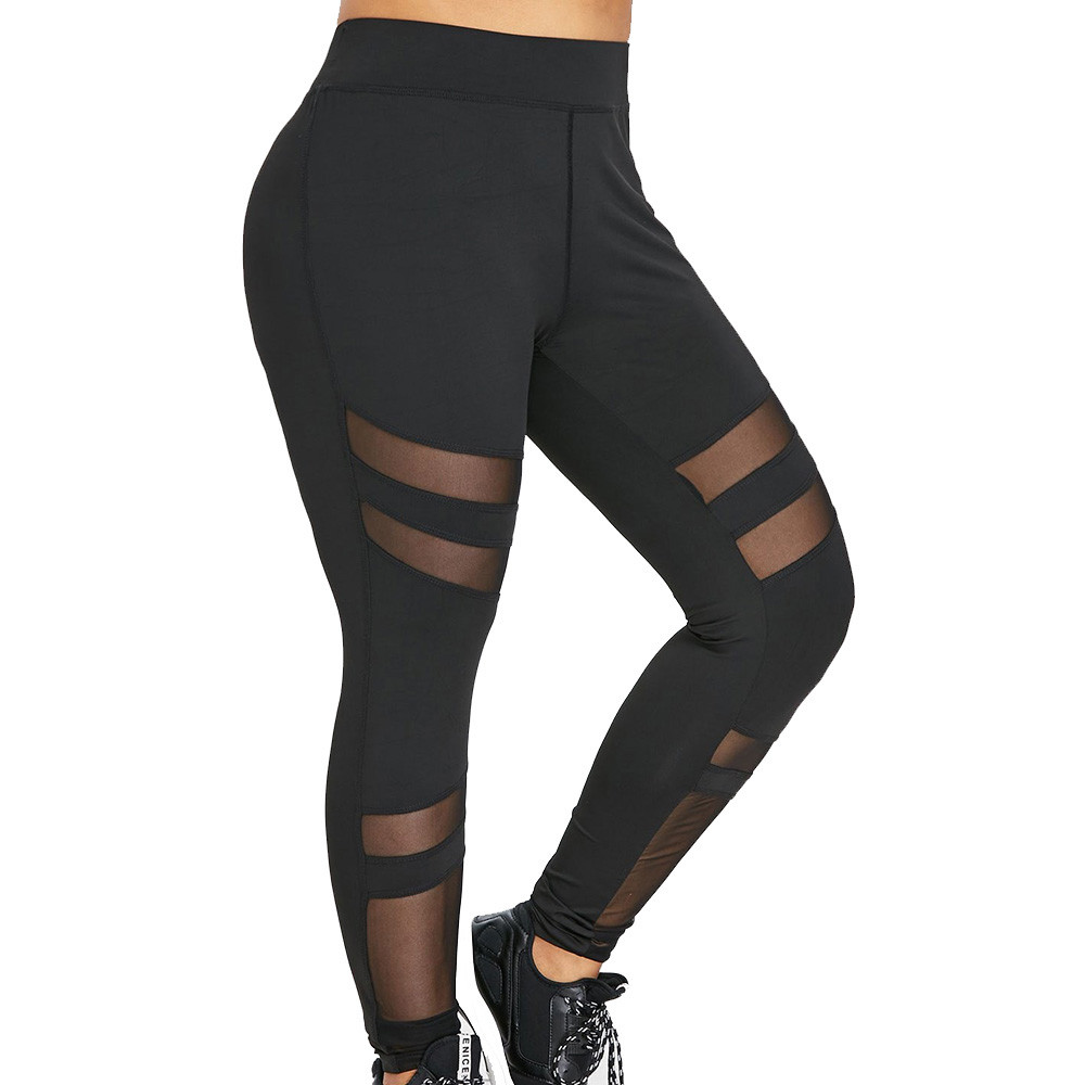Women Plus Size   Leggings   Fitness Sports Workout Streetwear Slim Stretched Sweatpants Solid Colors Holes Hollow Leggins For Lady