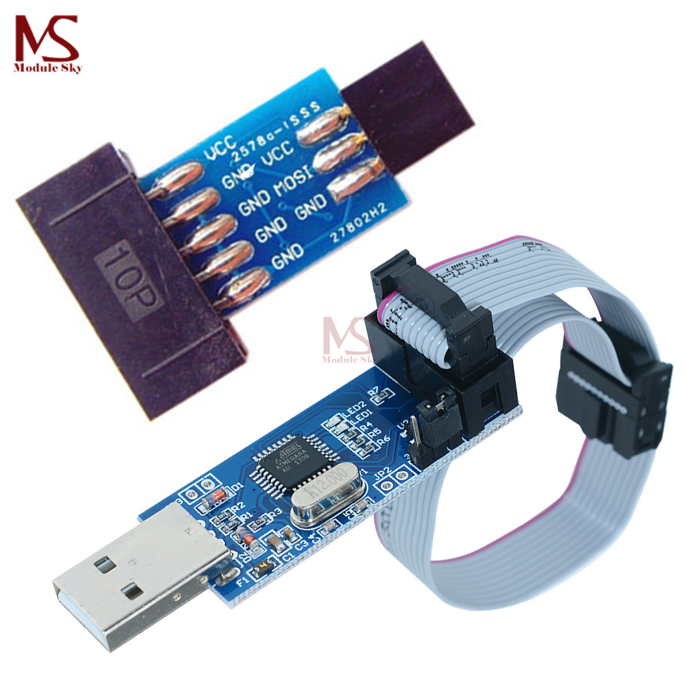 Buy 10 Pin To Standard 6 Adapter Board Usbasp Usb Programmer For Atmel Avr Controllers Usbisp Atmega8 Atmega128 Attiny Can Pwm Arduino From Reliable