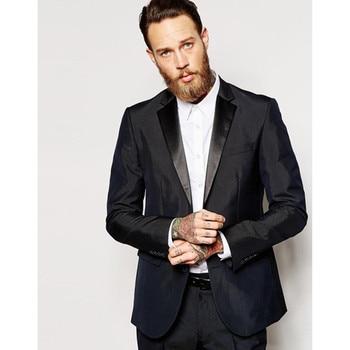 Custom Made black Slim Fit Groom mens suit Tuxedo 2017 one button Wedding Men Suits smoking man terno masculino (jacket+Pants)