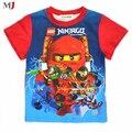 Ropa de chicos Ninjago Para 2016 Nueva Moda de Alta Calidad Tops de Verano de Manga Corta de Ropa de Niños Camiseta