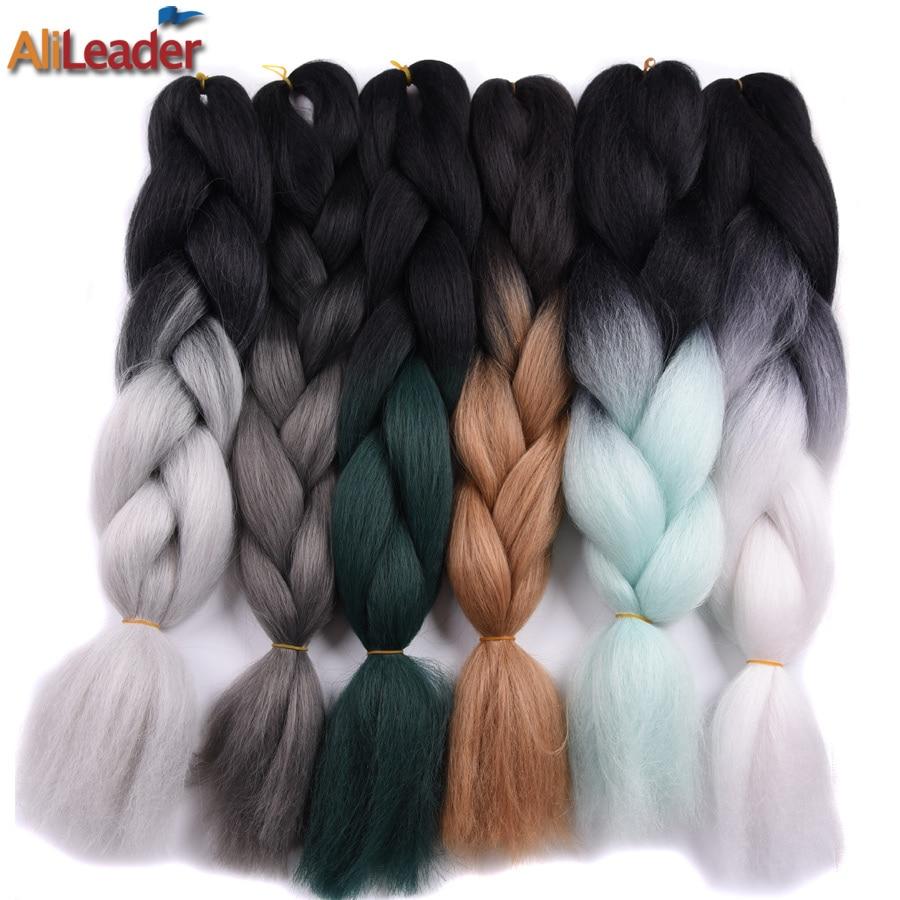 AliLeader 32 Colors Ombre Jumbo braids Braiding Hair , 100G Three Tone Crochet Twist Braids Synthetic Hair Extensions 1Pcs/Lot