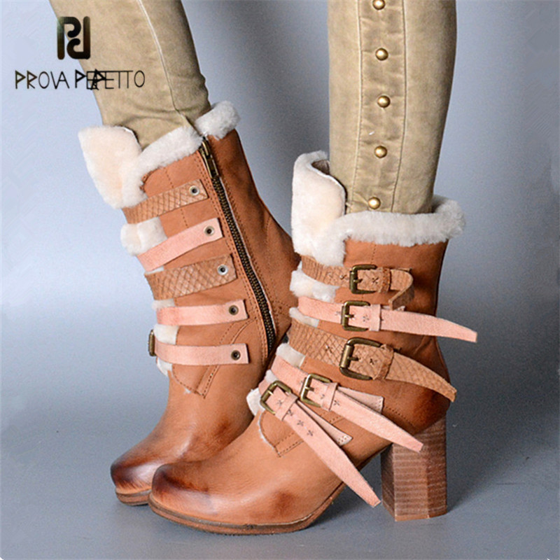 Prova Perfetto 2018 New Winter Warm Snow Boots Straps Women Genuine Leather Ankle Boots Female Chunky High Heel Botas Mujer prova perfetto winter women warm snow boots buckle straps genuine leather round toe low heel fur boots mid calf botas mujer