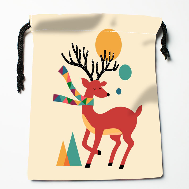 Custom Deer Printed Satin Storage Bag Drawstring Gift Bags More Size Storage Custom Your Image 27x35cm