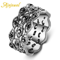 Ajojewel Brand Vintage Jewelry White Gold Plated 3 Layerd Round Women Ring With Black CZ