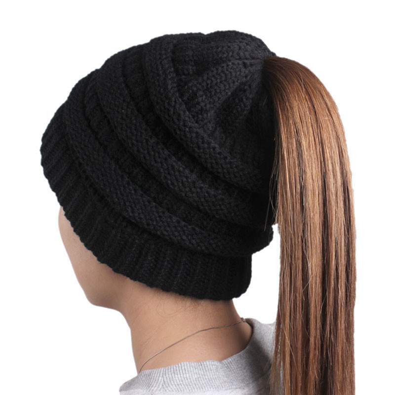 Winter Beanies Women Thick Warm Wool Hat Baggy High Bun Ponytail Stretchy Knit Beanie Female Girls Running Caps Outdoor DP978271