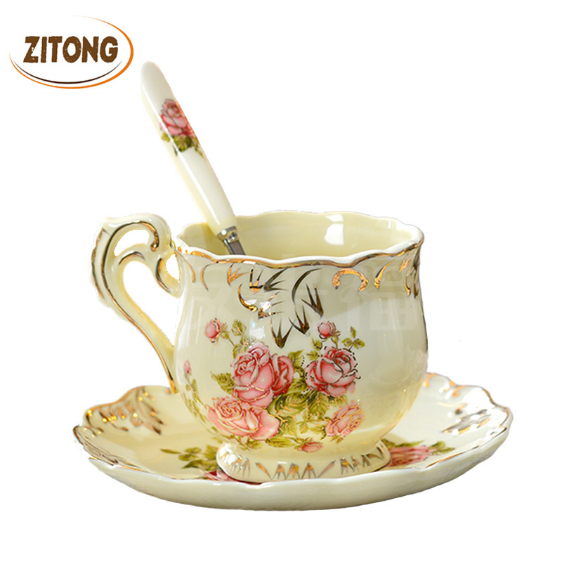 High Quality Ivory Porcelain Elegant Coffee Cups And Saucer Ceramic Mugs Luxury British Style Afternoon Tea