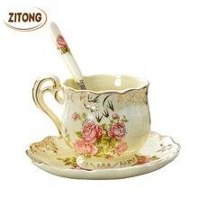 Hohe Qualität Elfenbein Porzellan Elegante Kaffeetassen Und Untertasse Keramik Tassen Luxus Britischen Stil Nachmittagstee Tasse Set