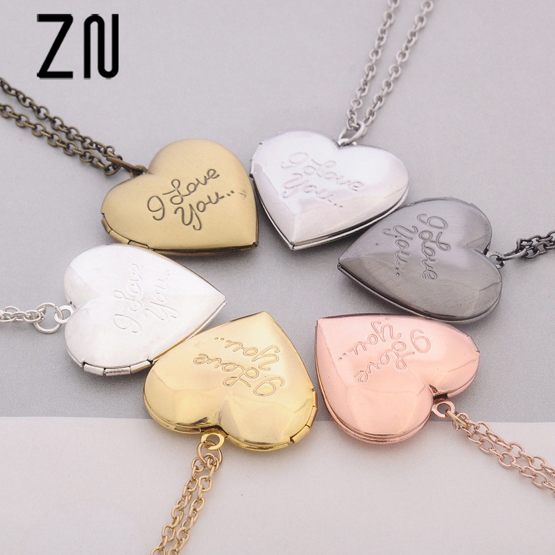 ZN 2018 New 6 Colors DIY Love Heart Secret Locket Necklace Pendant Vintage Gift For Lover Couples Custom mothers day gift locket