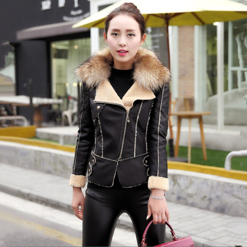 M-3XL Women   Leather   Jacket 2018 Winter New Fleece Fur Coat Fashion Fur Collar Faux   Leather   Jackets Female Outerwear High Quality