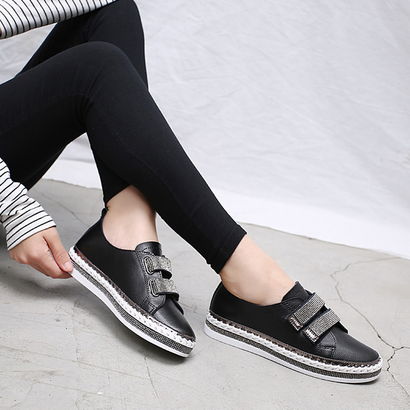 JZZDDOWN Genuine Leather White Flat Sneakers Women Soft Spring Ladies  Leather Shoe Casual Women Shoes Wedding sneakers for women-in Women s Flats  from Shoes ... c67b0241c946