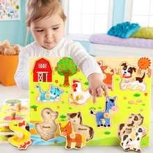 Children's Animal Fruit wooden puzzle board toys No burrs baby wood puzzles Forest/Marine/Farm etc 8 style Classic puzzles toy(China)