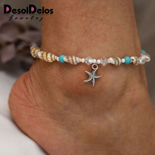 Bracelet Beach Women Foot Jewelry Bohemian Resin Crystal Beads Natural Shell Conch Starfish Pendant Ankle Bracelet 2019