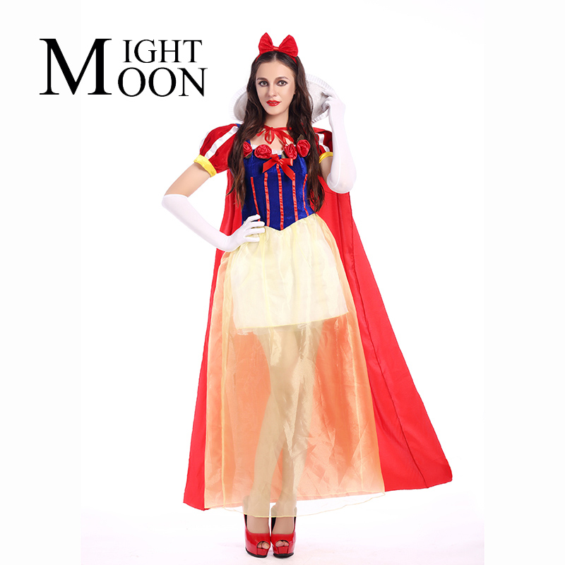 MOONIGHT Adult Deluxe Snow White Costume Fairytale Snow Princess Cosplay Fancy Dress Halloween Party Gown