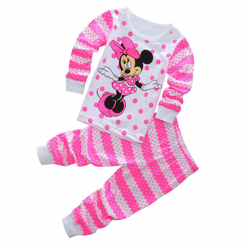 Kids Baby Pajamas Set Toddler Boys Minnie Mickey Pijamas Long Sleeve Cartoon Clothing Girls Pyjamas Set Tops Long Pant Sleepwear
