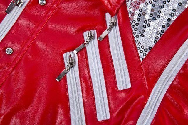 HOT Punk Red Zipper Michael Jackson Jackets MJ Beat It Coats Tailor Mens Sequined Jacket Outwear Imitation 3