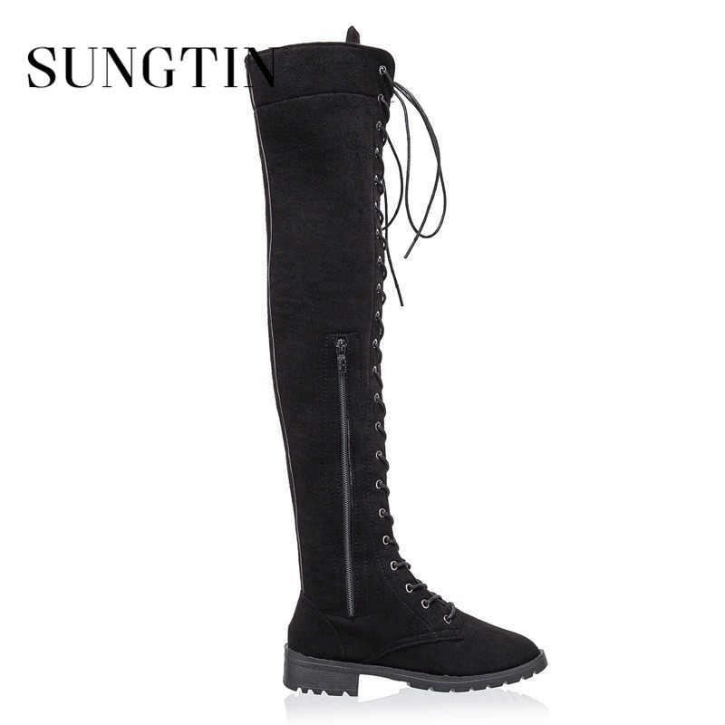 Sungtin offre spéciale à lacets sur les bottes au genou femmes Faux daim cuir cuissardes bottes dames Chunky talon bas Punk bottes d'équitation