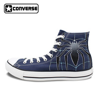 Mens High Top Converse All Star Shoes Spider Hand Painted Artwork Cusom Design Blue High Top