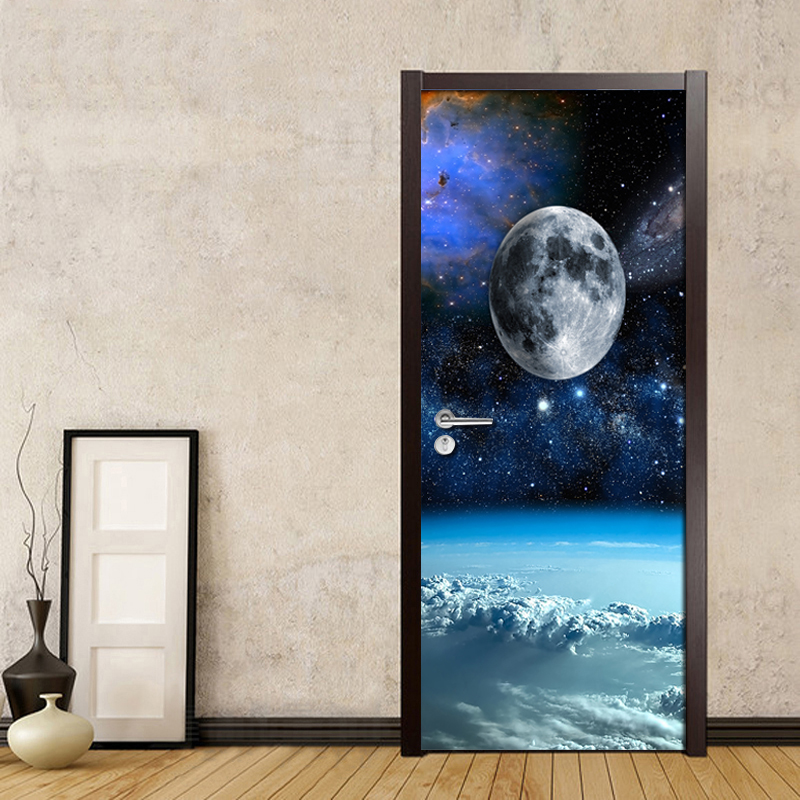 Cosmic Planet Cloud Landscape 3D Door Wallpaper Wallpaper Parlor Bedroom PVC Waterproof Door Sticker Home Decor Wall Painting pvc self adhesive waterproof 3d mural stereo tiger broken wall creative diy door wallpaper home decor bedroom door wall sticker
