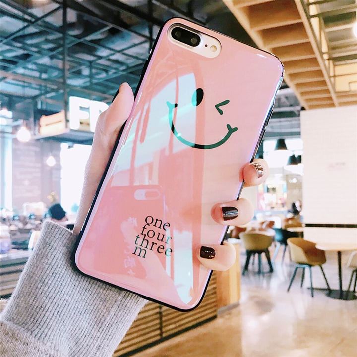 Fashion Smile Face Emoji Painted Silicone Case for iPhone 6 S 7 8 Plus X Glossy Cute Blu-ray Laser Phone Cover Coque Girly Women