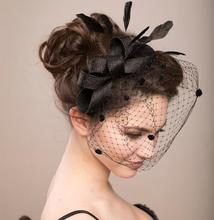 Fiesta de gallinas velo fascinator sombrero de las mujeres de la vendimia de boda pluma dots sombrero neto señora accesorio del pelo del clip sombreros evento festivo suministros