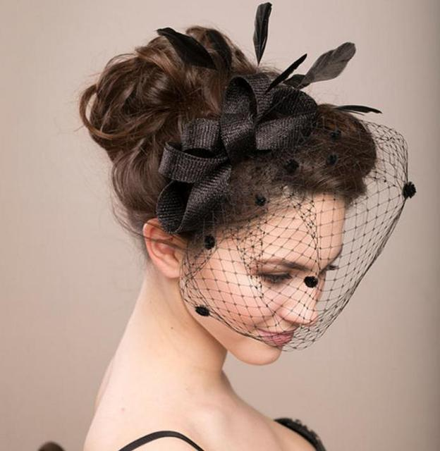 Hens party veil fascinator hat vintage women wedding feather dots net hat  lady hair accessory clip hats festive event supplies e8799c1f153