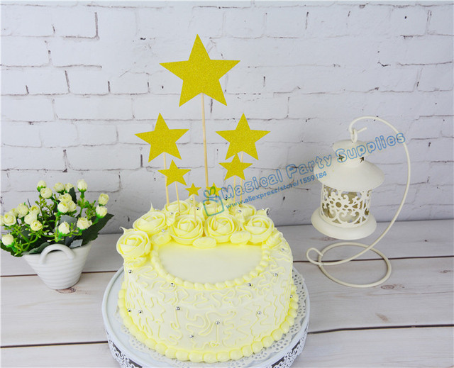 15 Sets 105pcs Glitter Star Cupcake Toppers First Birthday Party