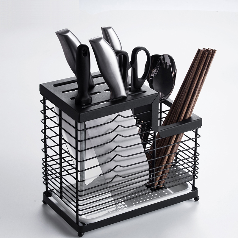 304 Stainless Steel Thick Hollow Kitchen Knife Holder Chopstick Fork Utensil Storage Rack Organizer Kinfe Block Stand Metal