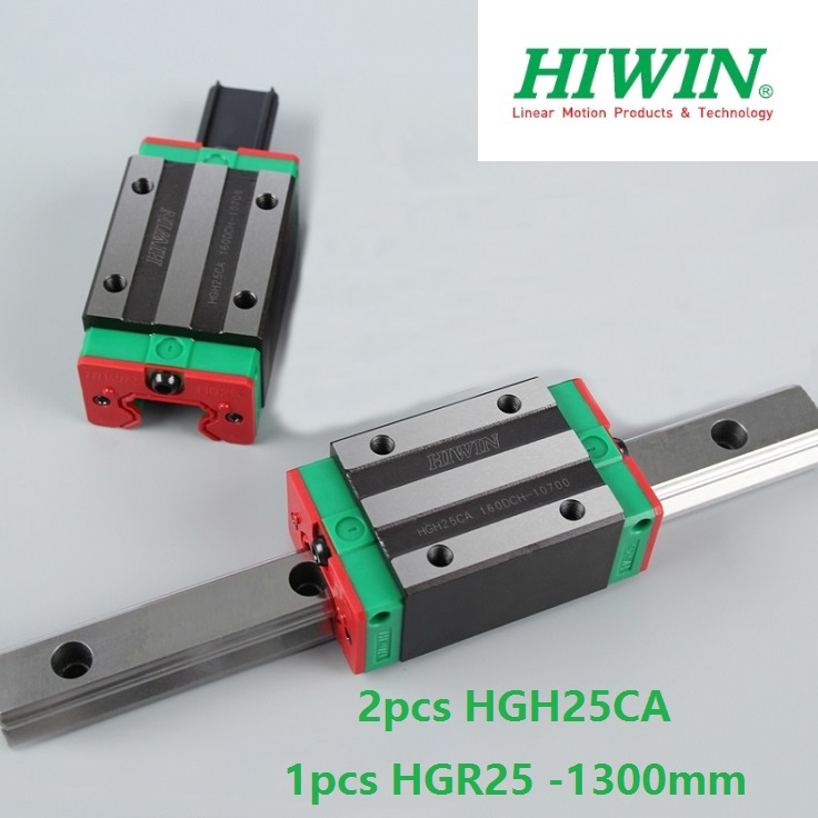 1pcs 100% original Hiwin linear guide linear rail HGR25 -L 1300mm + 2pcs HGH25CA linear narrow block for cnc router hiwin taiwan made 2pcs hgr25 l 600 mm linear guide rail with 4pcs hgh25ca or hgw25ca narrow sliding block cnc part