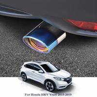 Car Exhaust Muffler Tip Stainless Steel Pipe Trim Modified Car Rear Tail Throat Liner For Honda HRV Vezel 1.5L 1.8L 2015 2019