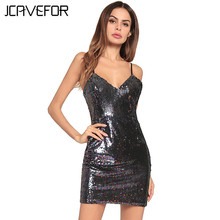 2018 Summer Women Sexy Deep V Neck Sparkle Shimmer Spaghetti Sequin Strap  Dress Bakcless Party Clubwear 02f4ae69f4c9