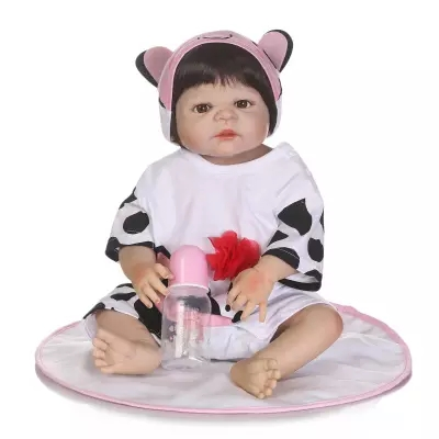 56cm 23inch  Soft Full Silicone Vinyl Reborn Baby Girl Doll Play House Toys Lifelike Toys Bebe Alive Brinquedos Reborn Bonecas full house